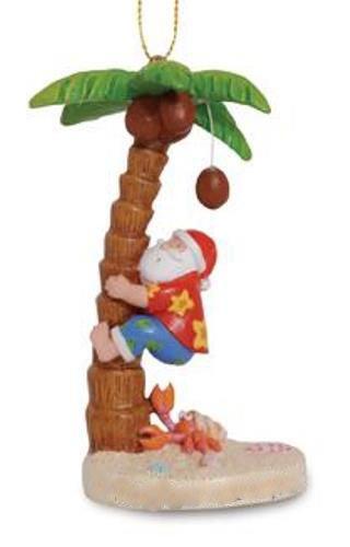 Cape Shore Beachy Santa Climbing Coconut Palm Tree Christmas Holiday Ornament