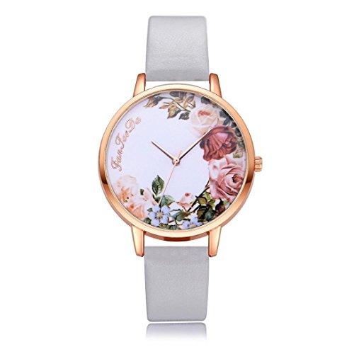 - BEUU Luxury Fashion Leather Strap Analog Quartz Watch Floral Dial Band Round Wrist Watche (E)