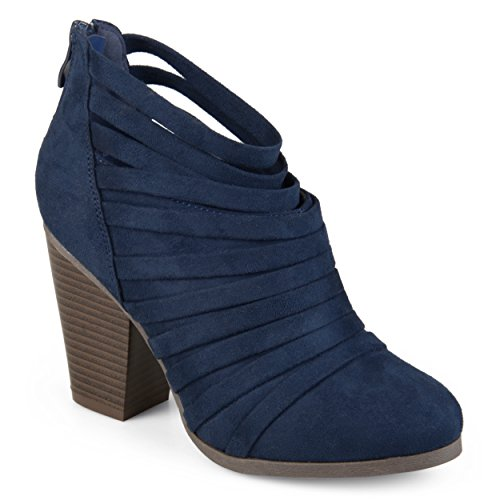 Journee Collection Womens Faux Suede Strappy Ankle Booties Navy, 10 Regular US from Journee Collection