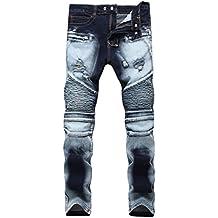 Qazel Vorrlon Men's Biker Moto Distressed Destroyed Fashion Skinny Fit Jeans