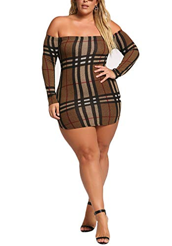 Plaid Taupe Bodycon Womens Off Debshops Size Dress Shoulder Plus ntvxWa