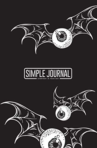 Simple journal - Everyday is your day: Flying eyeballs with creepy demon wings black and white halloween notebook, Daily Journal, Composition Book ... sheets). Dot-grid layout with cream paper.]()