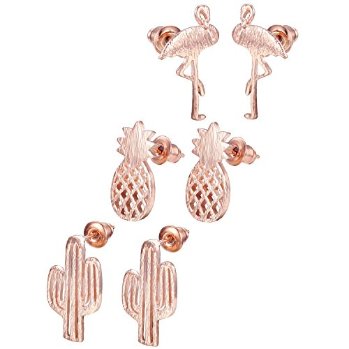 14K Gold Plated Pineapple Cactus Crane Stud Earrings - SPINEX Womens Girls Vintage Cute Hollowed Animal Fruit Plant Earring Jewelry for Beach Wedding Party