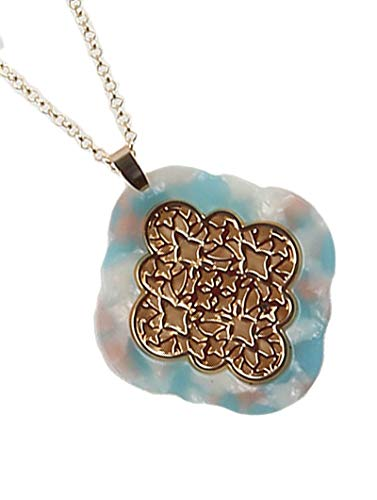 Fashion Jewelry ~ Marble Finish Acrylic Lucite Stone Filigree Pendant Long Necklace Goldtone (Aqua - Pendant Aqua Marble