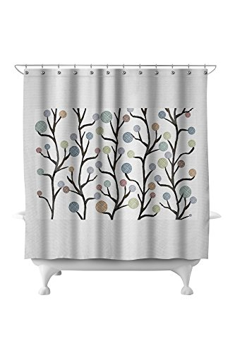 Abstract Flowers - Colorful Floral Pattern - Crosshatch Style (71x74 Polyester Shower (Pottery Barn Floral Shower Curtain)