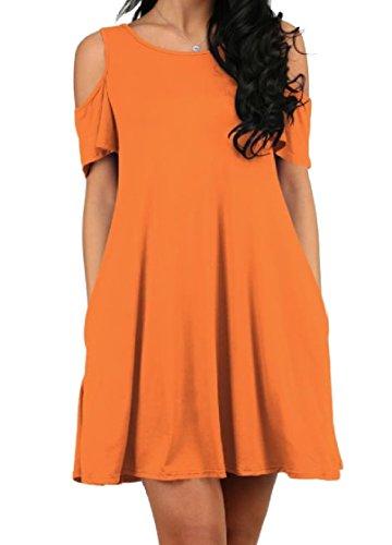 Orange1 Spiaggia Assetto Elegante Tasca Vestito Solido Coolred Tagliati Girocollo donne Fuori Dalla Spalla Sexy wSx16Oqz