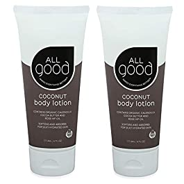All Good Hand & Body Lotion w/Essential Oils – Moisturizing Organic Lotion w/Calendula, Cocoa Butter, Coconut & Rose Hip Oil – Non GMO – Vegan (2-Pack)(Coconut)