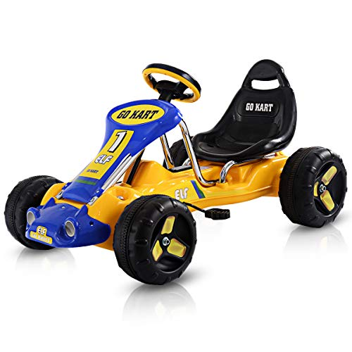 """Costzon Go Kart, 4 Wheel Ride on Car, Pedal Powered Ride On Toys for Boys & Girls with Adjustable Seat, Pedal Cart for Kids 37""""× 24.8""""× 20.1"""" (Yellow)"""