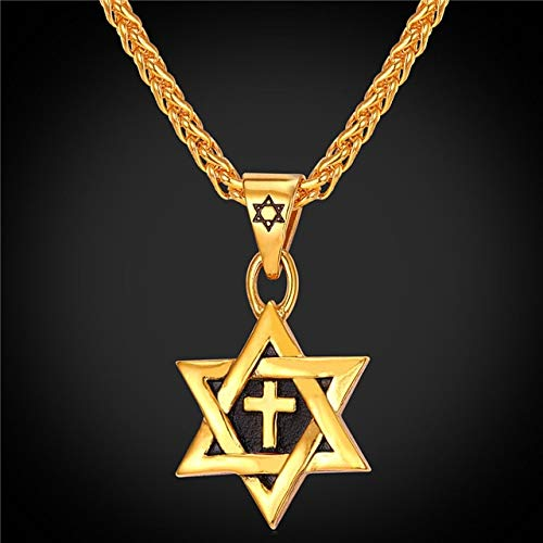 Davitu U7 Hot Magen Star of David Cross Pendant /& Necklace Gold Color Stainless Steel Women//Men Chain Israel Jewish Jewelry P819 Metal Color: Gold Plated
