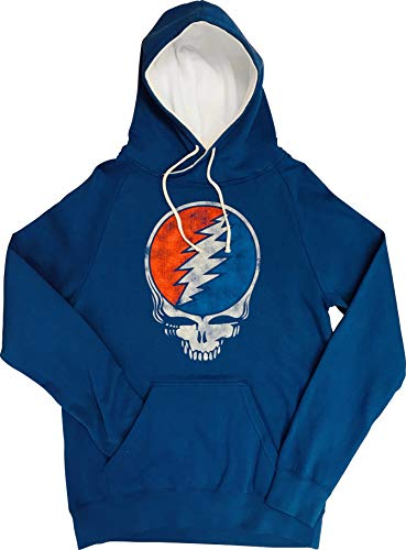 Ripple Junction Grateful Dead Adult Unisex Distressed Steal Your Face Skull Funnel Neck Pull Over Fleece Hoodie SM - Tee Funnel Neck