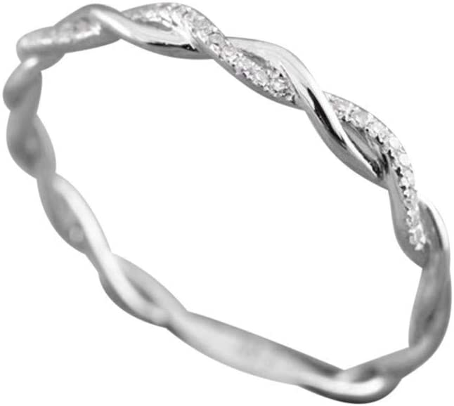 Haluoo Twisted Shape Rings Silver Plated Knot Ring Criss Cross Infinity Wedding Band Diamond Engagement Ring Stacking Matching Band Anniversary Ring for Women Girls Size 5-10