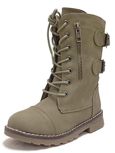 Steven Ella Girls Faux Leather Combat Boots Khaki 2 US Little Kid