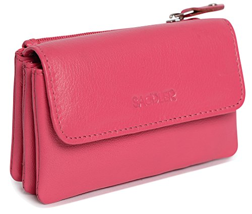 Leather Triple Gusset Flap - SADDLER Womens Nappa Leather Triple Gusset Coins and Key Flap Purse - Fuchsia