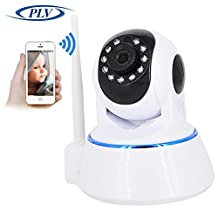 PLV 1080P WIFI Wireless HD IP Camera for Home Surveillance Indoors Device with Micro-SD Card System Available for Local Storage by Two-Way Audio with Night Vision IR and Tan / Tilt (No SD-Card Included)