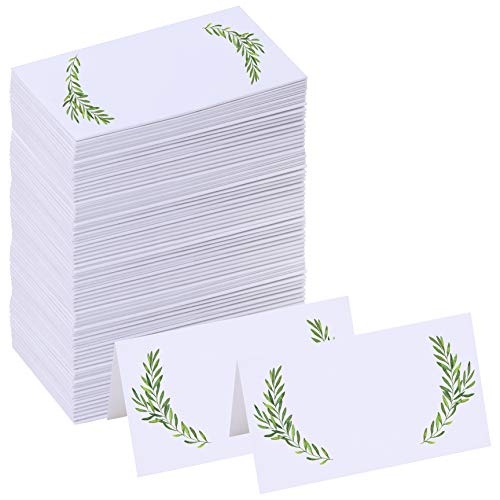 Supla 100 Pcs Table Setting White Blank Place Cards Wedding Watercolor Floral Greenery Dinner Place Cards Escort Cards Guest Name Tented Cards Party Table Number Seating Cards Buffet Cards