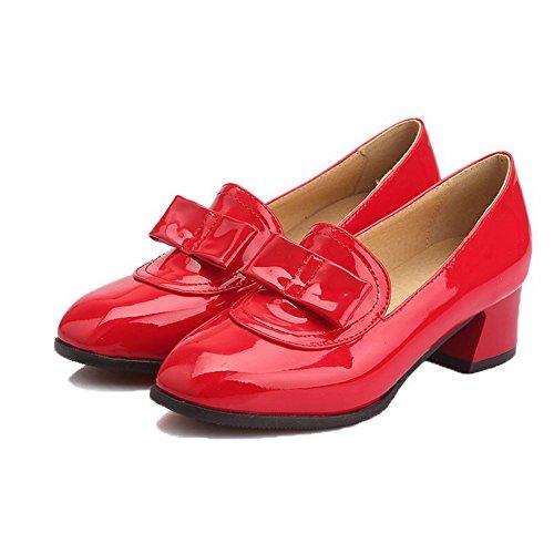 Pelle Donna Ballet Puro Maiale di Rosso Tacco Flats VogueZone009 Medio Punta Quedrata wtTqdtz