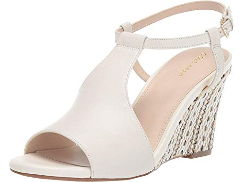 Cole Haan Women's 80 mm Maddie Open Toe Wedge Ivory Leather 8.5 B US (Haan 80)