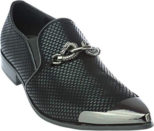 cristiano5 Mens Slip-On Fashion-Loafer Sparkling-Glitter Metal-Tip Black Dress-Shoes Size 9