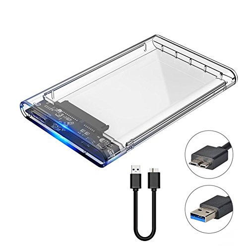 LOLLIPOP Transparent External Hard Drive Enclosure Adapter Support 2.5 Inch SSD/HDD Portable SATA III SSD Enclosure USB 3.0 UASP High Speed 5Gbps Clear Case Hard Drive Caddy for PC/Laptop by Lollipop