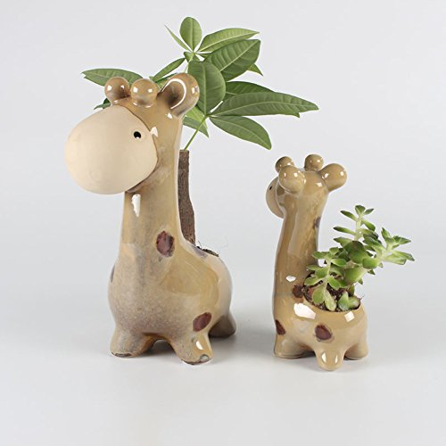 YOURNELO Ceramic Two Giraffes Plant Flower Pot Succulent Planters Vase