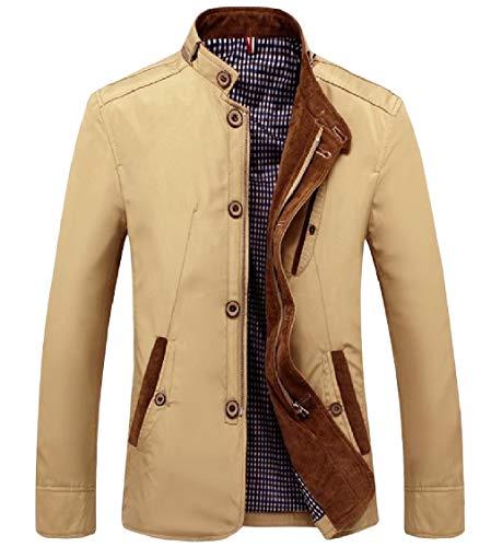 Collar Khaki Size Stand Coat Button Pocket Men's Fitness Outwear Zipper Energy Plus qwtP6RnxS
