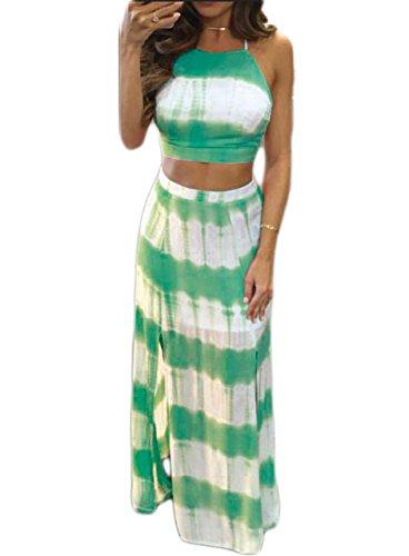 Womens Plus Size Two Piece Dress Green - 9