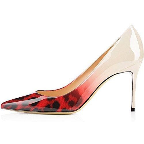 Escarpins Stiletto, Confort Sexy Pointe Pointue Talons Aiguilles Slip Sur Les Chaussures De Mariage Robe À Talons Pompes Léopard 3