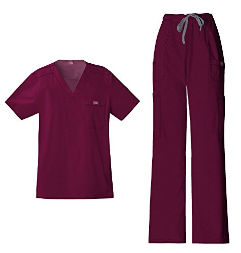 (Dickies Gen Flex Men's V-Neck Scrub Top 81722 GenFlex Men's Drawstring Cargo Scrub Pant 81003 Scrub Set (Wine - Large/Large))