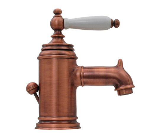 Whitehaus N21-P-OLDCO Fountainhaus 4 3/8-Inch Single Hole/Single Lever Lavatory Faucet with Porcelain Handle and Pop-Up Waste, Old Copper