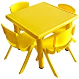 Intra Kids Strong And Sturdy Table Without Chairs - Square (Yellow)