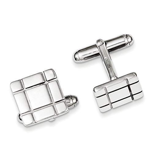 Men's Sterling Silver Grooved Design 14mm Square Cuff Links