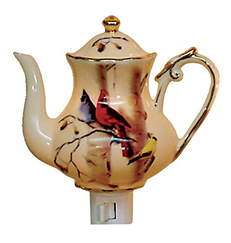 Green Pastures Wholesale Cardinal Teapot Porcelain Night Light, 5-Inch by 4-Inch by 6-Inch