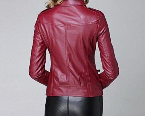 MU2M Jackets Fit Moto PU Side Biker Faux Zipper Slim Wine Casual Women's Red Leather rtqPr