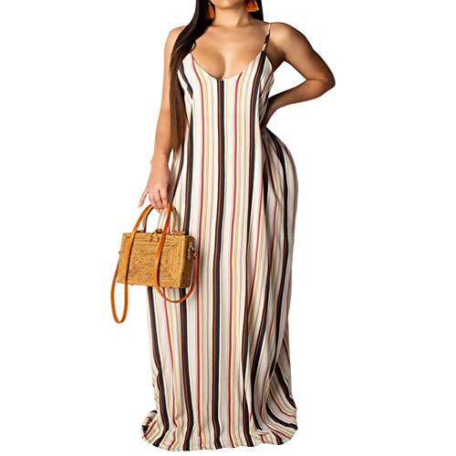 (Womens Spaghetti Strap Dress Summer - Casual Loose Floral Beach Cover Up Plus Size Long Maxi Dresses with Pocket Stripe Large )