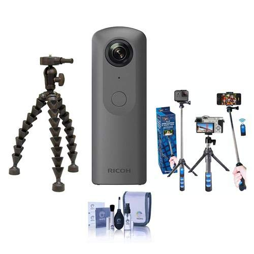 Ricoh Theta V 360 Degree Spherical Panorama Camera, Black - Bundle with Selfie Stick, Sunpak FlexPod Pro Gripper Plastic Tripod. Cleaning Kit