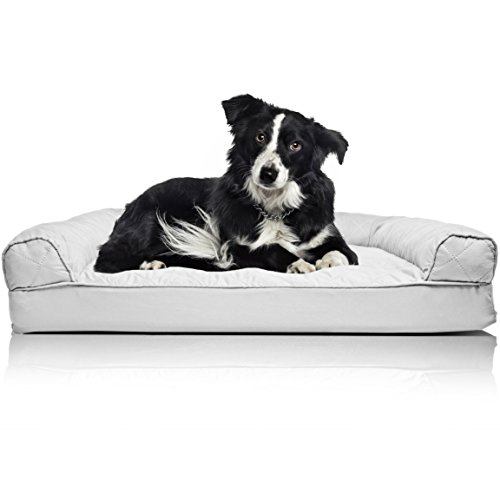 (FurHaven Pet Dog Bed | Orthopedic Quilted Sofa-Style Couch Pet Bed for Dogs & Cats, Silver Gray, Large)