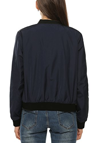 Zeagoo Womens Classic Quilted Jacket Short Bomber Jacket Coat, Navy Blue, Small
