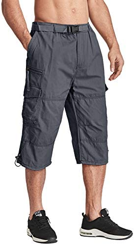 TACVASEN Men's Casual Pants Cotton Elastics Below Knee 3/4 Long Cargo Carpi Shorts with 7 Pockets