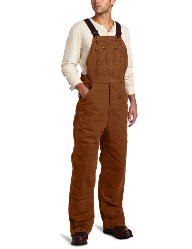 Carhartt Men's Quilt Lined Sandstone Bib Overalls,Carhartt Brown,32 x 30