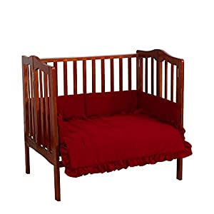 Baby Doll Bedding Solid Mini Crib/Port-a-Crib Set, Red