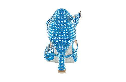 Scarpa da ballo Limited Edition , in raso Celeste , con listini incrociati, 5 fasce, tacco 7,5 cm
