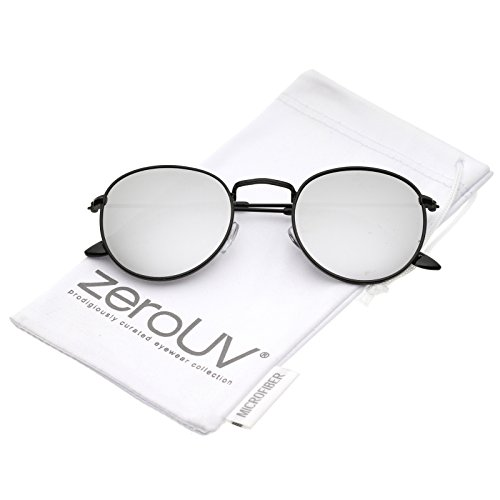 [zeroUV - Retro Metal Frame Thin Temples Colored Mirror Lens Round Sunglasses 50mm (Black / Silver Mirror)] (Thin Frame Sunglasses)