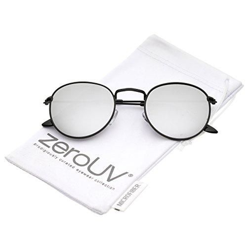 eba6522c22 Retro Metal Frame Thin Temples Colored Mirror Lens Round Sunglasses 50mm