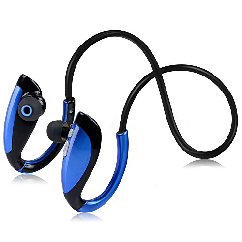 Shineverta Wireless Waterproof Sports Headphones,V4.1 HiFi Stereo headset with Mic,support iPhone iPad Android & All Devices ect(Blue)