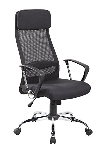eurosports Mesh Chair ES-8045-BK High Back Mesh and Fabric Swivel Office Chair with Upholstery Headrest, Black by eurosports