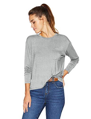 Amazon Brand - Daily Ritual Women's Jersey Long-Sleeve Boxy Pocket Tee, Light Heather Grey, Large