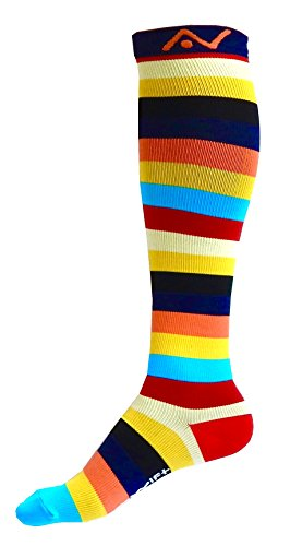 Compression Socks (1 pair) for Women & Men (Savvy Stripes, L/XL)