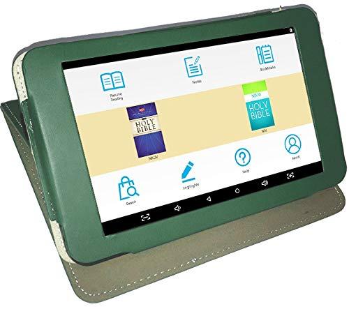 Azpen A747 My E-Bible eReader Tablet, NKJV & NIV with Narration & Leather Case (Green)