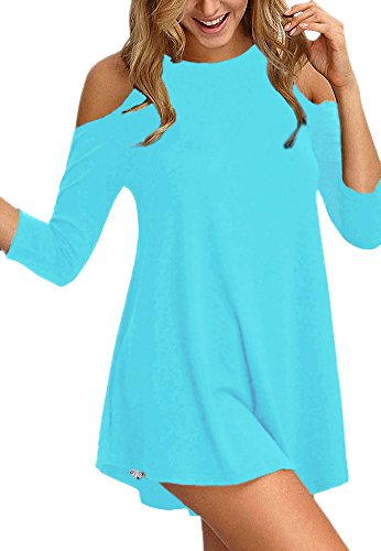 Afibi Womens Cold Shoulder Half Sleeve Swing Tunic Tops for Leggings (Small, Light Blue) -