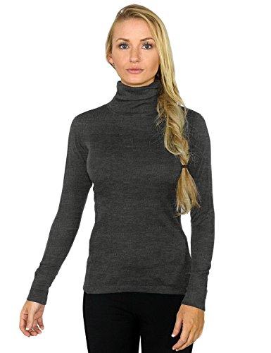 Woolx Women's Merino Wool Turtleneck – Ultimate Warmth & Style, X-Large, Charcoal Heather